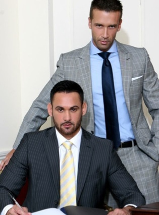 Suited Hugo Martin and Marco Wilson